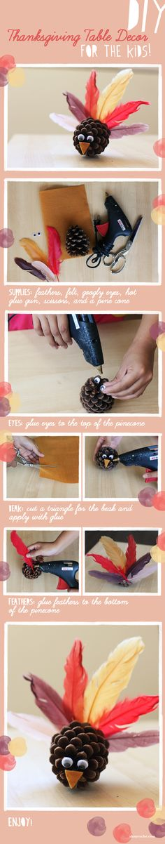 DIY Thanksgiving Pinecone Turkey Decorations good for teachers to do with younger students for around thanksgiving