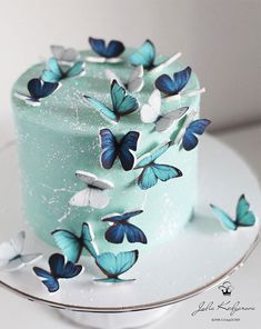 19th Birthday Cakes, Butterfly Birthday Cakes, Elegant Birthday Cakes, Beautiful Birthday Cakes, Butterfly Cakes, Cool Birthday Cakes, 21 Bday Cake, Designer Birthday Cakes, Cake With Butterflies