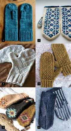 Snow's silver lining: spectacular mittens. love the pattern of the white one! Crochet Mittens, Mittens Pattern, Knitted Gloves, Knit Crochet, Hand Knitting, Knitting Patterns, Textiles, Fingerless Mitts, Wrist Warmers