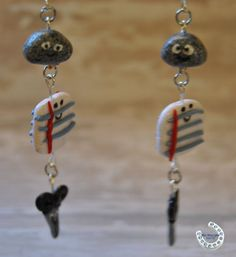 Rock Paper Scissors Polymer Clay Earrings by BlueHorseShoeCrafts, $6.50