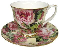 Cottage Rose Chintz Tea Cup and Saucer