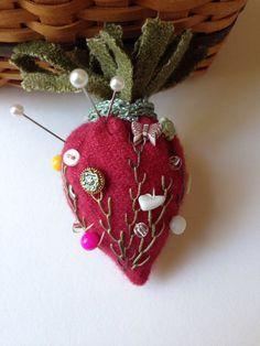 Strawberry Emery Pincushion...Wool Felt Pincushion...Pincushion Hand Made...Strawberry Pincushion...Pincushion