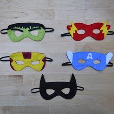 Globers Máscaras de superhéroes en fieltro para niños. Cumpleaños y fiestas. Cool parties. Superhero felt masks. Kids.