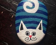 Cat Rock - hand painted rock art gift unique geocaching cat lady