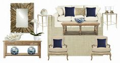 Inquire for e-design - The Enchanted Home Living Room End Tables, Home Living Room, Distressed Wood Furniture, Interior Design Boards, Interior Colors, Interior Ideas, Enchanted Home, Palette, Family Room Design