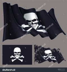 Vector illustration of the waving pirate flag, skull and crossbones. Each element on a separate layer with well-defined groups and subgroups. Easy to edit colors via Global Color Skull And Crossbones, Separate, Pirates, Royalty Free Stock Photos, Stock Illustrations, Flag, Colors, Easy, Pictures