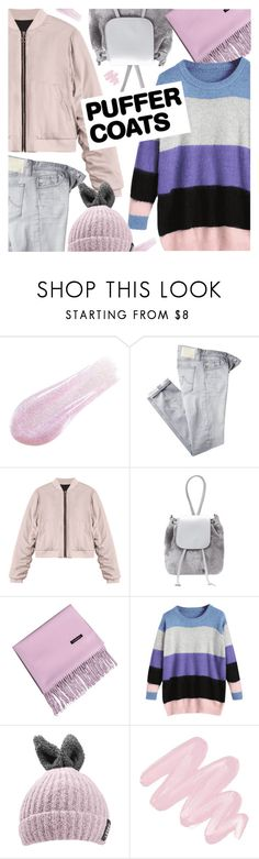"""Stay Warm: Puffer Coats"" by pokadoll ❤ liked on Polyvore featuring Lipstick Queen, AG Adriano Goldschmied and Obsessive Compulsive Cosmetics"