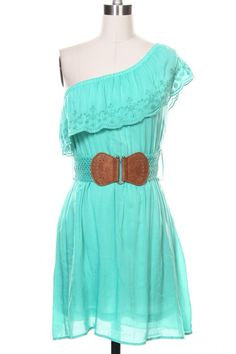 Western Turquoise One Shoulder Eyelet Dress with Belt,(http://www.thetexascowgirl.com/western-turquoise-one-shoulder-eyelet-dress-with-belt/)