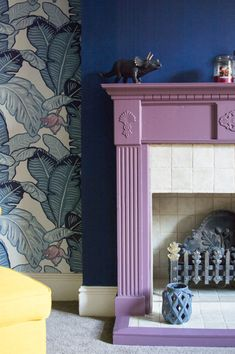 If you're thinking of painting your fireplace, find ideas and inspiration in these 10 colourful examples of the latest interiors living room trend. Paint Fireplace, Faux Fireplace, Fireplaces, Fireplace Ideas, Living Room Trends, Living Room Interior, Painted Fire Surround, Mad About The House, Ikea Chair