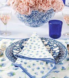 Beautiful blue table setting