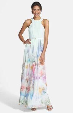 Ted Baker London Floral Print Chiffon Maxi Dress | Nordstrom