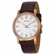 Bulova White Dial Rose Gold-tone Brown Leather Mens Watch 97A106