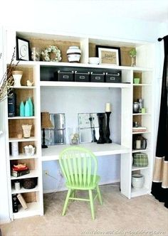 4 Built in desk nook from Ikea bookshelf, by Domestically Speaking featured on bookshelf desk IKEA Bookcase to Built-In Desk Nook Hack Girls Bookshelf, Bookcase Desk, Bookshelf Storage, Ikea Shelves, Bookshelves Built In, Built Ins, Closet Storage, Craft Storage, Bedroom Storage
