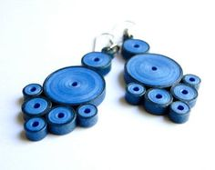 Handmade Blue Earrings / Quilled Paper Jewelry / Fashion Accessories / Unique Statement Earrings