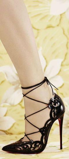 Christian Louboutin Black Lace-Up Sandal