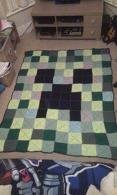 Minecraft creeper crochet blanket  @Kerry Dilks  ??  Creeper?  Still thinking blocks?