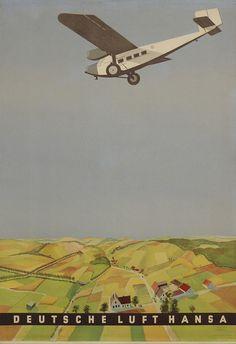 Vintage Airline Poster / Deutsche Lufthansa