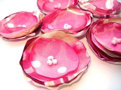 Handmade Satin Poppy Sew on Flower Appliques Wedding by LoraDesign, $5.00
