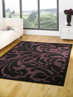 Element Warwick Modern Rug   Black, Purple