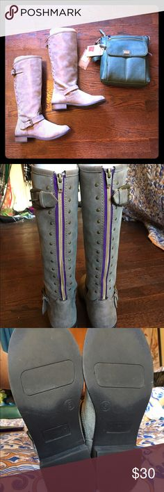 Cherokee Taupe Riding Boots Beautiful taupe boots!!! Worn once with faux suede, purple zipper liner, and brass accents throughout. Excellent condition! There is a slight mark on the left boot shaft but it's not noticeable unless you are looking for it. These are a size 5 in children's which translates to a women's size 7. This is a Target brand but I have another pair of Cherokee boots which have lasted FOREVER!!! Cherokee Shoes Heeled Boots