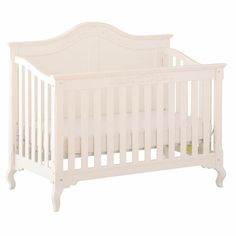 Status Somerset Stages 3 in 1 Convertible Crib in Antique White - Click to enlarge! almost identical to Gracelynns crib except hers is off white and the bottom is scalloped all the way around!