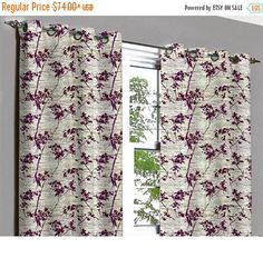 10% THANKSGIVING SALE Purple Bushes Grommet Blackout Lined Curtain in Textured Jacquard Weave Fabric Decor and Housewares Window Treatment D