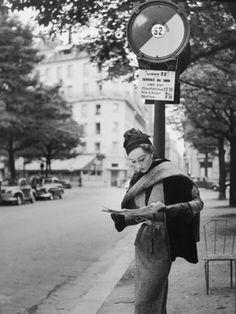 Model Sophia Litvak photographed for Elle magazine by Georges Dambier, September 1952.