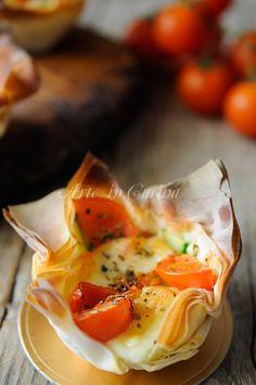 Cestini di pasta fillo ripieni con provola e pomodori vickyart arte in cucina