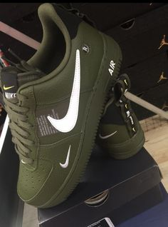 803a04e706a841 Nike Air shoes version in olive green color. Wear with light blue jeans or  white