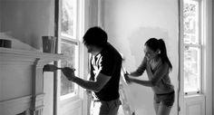 Jen and Joseph painting Jen's new bedroom