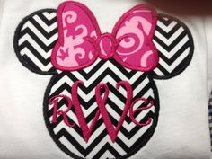 Disney Minnie Mouse Applique  Shirt (girls)...not crazy about the chevron with the monogram, but I love the idea of the monogram on the inside!
