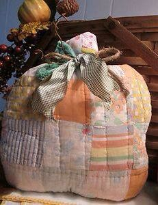 Prim Pumpkin made from an old quilt......