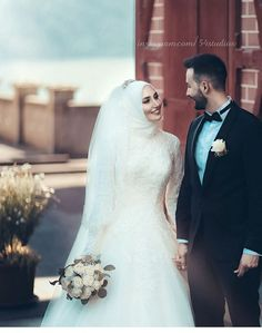 Yaaaaay omg I can't wait to dress you and brush your hair and mustache habib. Wedding Couple Photos, Wedding Poses, Wedding Photoshoot, Wedding Couples, Muslimah Wedding Dress, Hijab Wedding Dresses, Bridal Dresses, Bridesmaid Dresses, Bridal Hijab