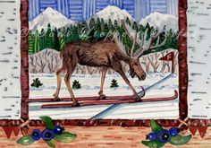Cross Country Skiing Moose - 5'' x 7'' matted print of original watercolor painting by Toni Lieppert Polfus
