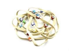 Eye beads on Camel Suede Cord Style No SEBN424 by zahavblue, $8.00