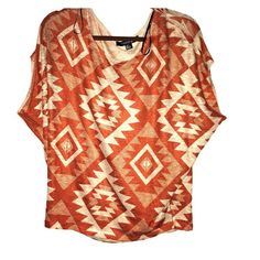 Tribal printed top Burnt orange and sandy colored top has billowy sleeves and loose fit. Forever 21 Tops