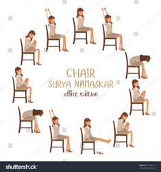 Round vector illustration of chair sun salutation positions. Woman in suit doing yoga at work. Office worker doing Surya namaskar asana. Workout picture on white isolated background. Yoga Training, Yoga Teacher Training, Yoga Pictures, Workout Pictures, Senior Fitness, Yoga Fitness, Yoga Sequences, Yoga Poses, Fittness