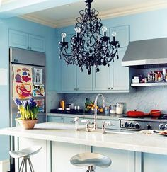 black chandelier all funked up in a relaxed vibe...love it.