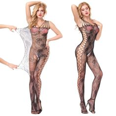 7a4187174 evershare Women Sexy Lingerie Bodystocking Fishnet Floral Crotchless  Bodysuit For Sex Black Medium -- Click on the image for additional details.