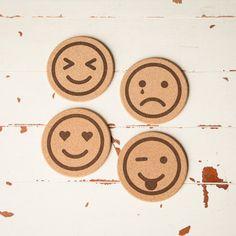 Cork Coasters Emoji Icon Cork Coasters by subculturegiftshop