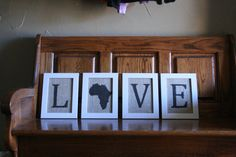 Set of 4 frames with LOVE Africa Burlap  each by lindylouloves, $30.00