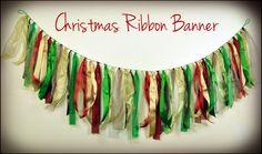 Christmas Ribbon Banner  Christmas Fabric Banner  by TutuHappyLLC