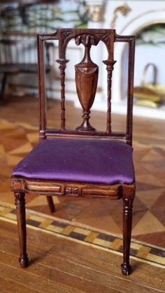 Miniature Dollhouse Artisan John Masterman repro of Thomas Sheraton Chair 1:12 #JohnMasterman