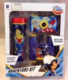 DC SUPER HERO GIRLS  ADVENTURE KIT 35mm Camera Flashlight Binoculars Toy Set #DCCOMICS
