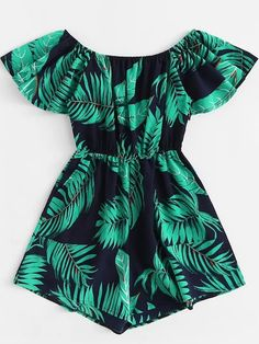 ROMWE Tropical Off Shoulder Leaf Print Romper Female Summer Off the Shoulder Short Sleeve High Waist Wide Leg Vacation Playsuit Girls Fashion Clothes, Teen Fashion Outfits, Girl Fashion, Girl Outfits, Sleepwear Women, Pajamas Women, Cute Casual Outfits, Summer Outfits, Jugend Mode Outfits