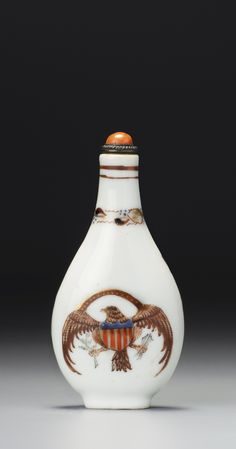 A FAMILLE-ROSE PORCELAIN'AMERICAN EAGLE' SNUFF BOTTLE<br>QING DYNASTY, CIRCA 1874-1876 | lot | Sotheby's