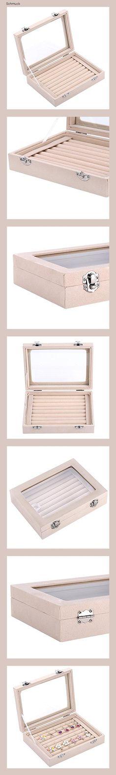 Ivosmart Aufbewahrungsbox für Schmuck, 24 Fächer, aus Samt, mit Glasdeckel, Fächer für Ohrringe, Schwarz, beige, 7 Slot (Beige) - 14g7