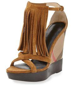 """Minstead fringe check wedge sandal by Burberry. Burberry suede fringe sandal. 4. 9"""" check-canvas wedge heel. Straps crisscross over open toe. Fri..."""