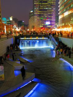 The Cheonggyecheon Stream Draws Crowds of Locals Out in Early Evening, Seoul, South Korea Photographic Print