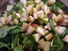 Pear and Spinach Salad with Balsamic Maple Vinaigrette.  Recipe from the nourishing apron.